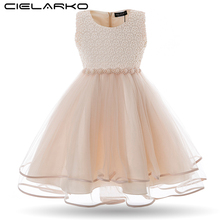 Cielarko Kids Girls Evening Dress Children Sleeveless Pearls Party Wedding Dresses Formal Vintage Clothes for Girl 3-7 Years