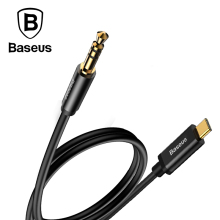 Baseus USB Type-C to 3.5mm Aux Audio extension Audio Adapter Converter For USB-C Male to Male 3.5 Jack Headphone Car Audio Cable(China)