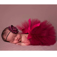 Red Baby Photo Props Tulle Baby Girl Tutu Skirt Bowknot Newborn Photography Props for 0-4 Months Fotografia