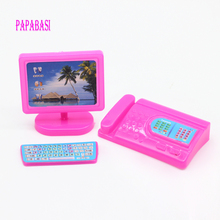 Papabasi Pink Dollhouse Miniature Modern Computer Keyboard Furniture Fax For 1/6 body Kali doll Accessories(China)