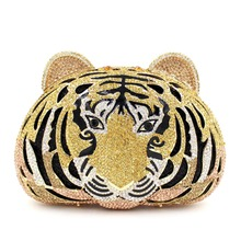 Luxury Golden Tiger Head Evening Clutch Bags for Weddings Silver Black Bling Clutch Bags for Women Cute Animal Print Clutch Sale