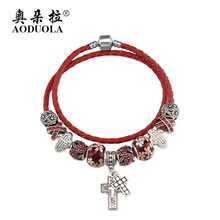 AODUOLA 2016 new arrival cross charms bracelet for women diy flower beads red leather bracelet fashion jewelry  B15399
