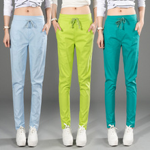 Cotton Linen Women Pants Elastic Waist Lady Jeans Girl Trousers Female Capris Blue/Black/Green/Cyan M/L/XL/28/29/30/31/32/34/36