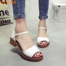 HEVXM 2017 summer new ladies fashion open-toed bag root buckle solid color sandals women's casual job shoes student shoes