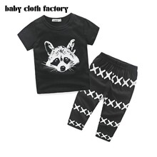2016 summer baby boy and baby girl clothing set printed Wolf suit  Tops+pants with geometry 2 pcs baby set baby clothing set