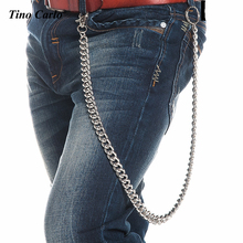 "12mm Men's 29"" Long Silver Metal Heavy  Extra Long Key Wallet Chains Punk Chunky Cuban Curb Jeans Hip Hop Waist Chain 320g KB41"