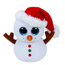 6'' 15cm Beanie Boos Cute Scoop the Snowman w/ Santa Hat Plush Toys Big Eyes Eyed Stuffed Animal Soft Toys Kids Gifts S35(China)
