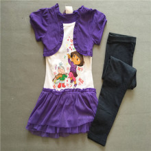 Retail Free shipping  girl clothing set princess dora short  sleeves T Shirt  leggings 2 piece sets outfits suits for summer