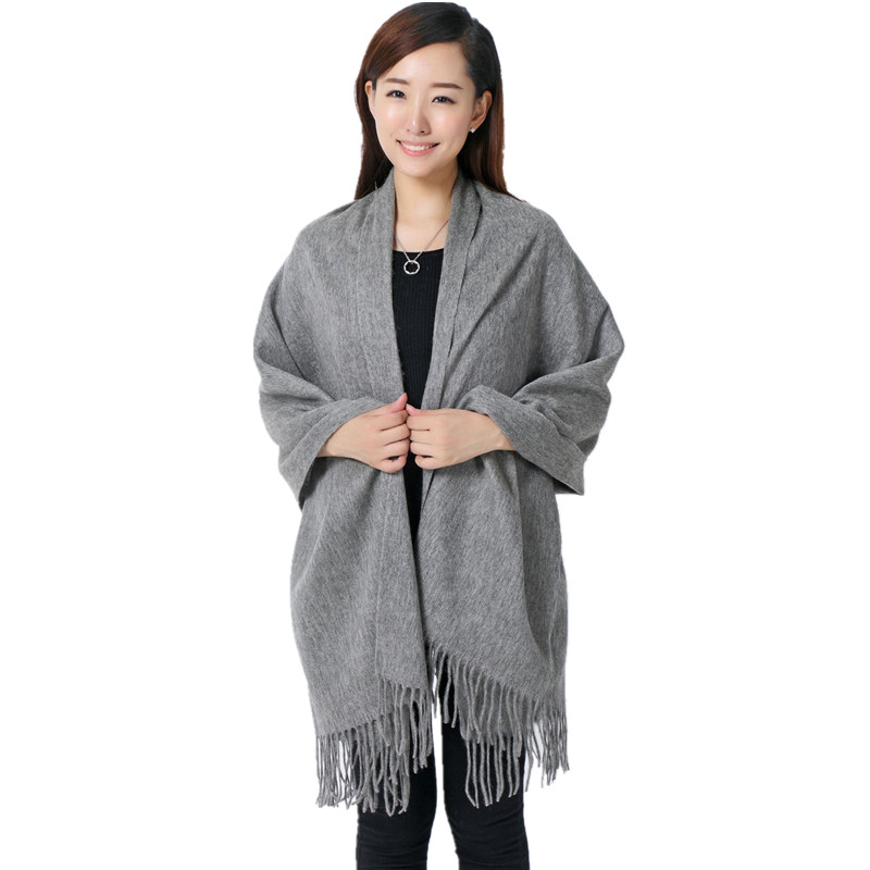 Gray  100% Wool South Korea Solid Style Shawl Fashion Thick Winter New Women&Elegant Scarf Christmas Gift Size 70 x 200CM