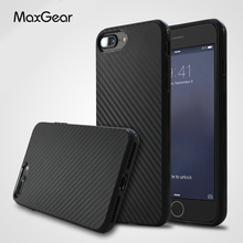 MaxGear for iPhone 5 5S SE 6 6S 7 Plus Case Luxury Carbon Fiber Grain Texture Soft Silicone Shockproof Cover for iPhone7 Shell
