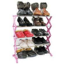 Best Promotion Stainless Steel Folding 5 Tiers Stackable Shoes Rack Stand Storage Organizer Holder Space Saving Shelf Closet