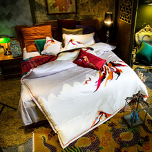 Svetanya volcanic Embroidered Luxury Bedding Sets Queen King Size Bedclothes 100% Cotton Brand Duvet Cover Set