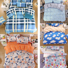 Fashion 4Pcs Twin/Full/Queen/King Size Bed Quilt/Duvet/Doona Cover Set & Sheet Shams Plaid Flora Banana Cloud Geo Blue Orange