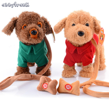 Abbyfrank Electric Teddy Dogs Pets Robot Interactive Dogs Dolls Children Walking Music Rope Dogs Plush Funny Game Toy For Kids(China)