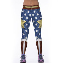 New Hot Sale Women's Yuga Leggings Fitness Elastic Wonder Woman Legging 3D Star Printed Workout Leggins Fitness Clothing Pants(China)