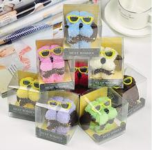 Free ship!1lot=20pc! Cute small dog with glasses,pure cotton cake towels/ festival  creative wedding Birthday gift/PVC box