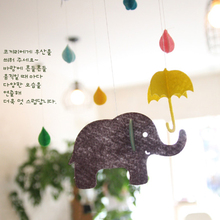 DIY Elephant Rainy Cloud Umbrella 3D Happy Birthday Felt Craft Party Kids Room Party Decoration Tags Photography Props