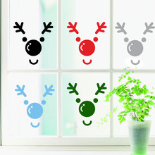 Merry Christmas Elk Deer Head Wall Sticker Home Shop Windows Decals Decor(China)