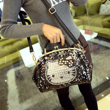 Womens fashion designer black cute bear cartoon hello kitty rhinestone bling soft hasp no zipper handbags female shoulder bags
