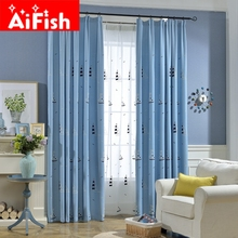 Mediterranean Cartoon Blue Sailing Shade Curtains Cotton and Linen Embroidery Bedroom Bay Window Children 's Room AP301-30(China)