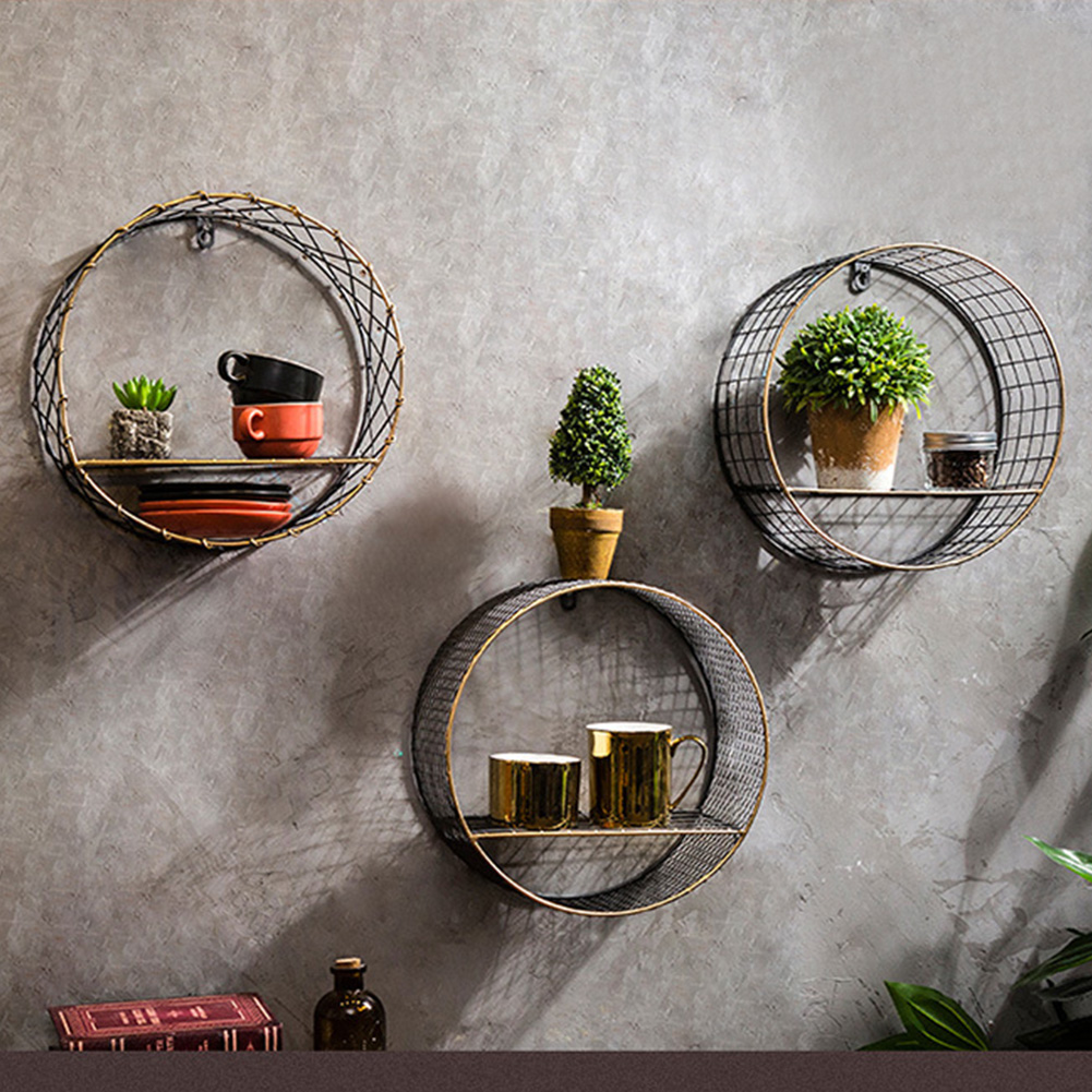 3 Sizes Retro Wall-Mounted Metal Rack Circular Mesh Iron Shelf Industrial Style Round Shelf Office Sundries Organizer Home Decor 10