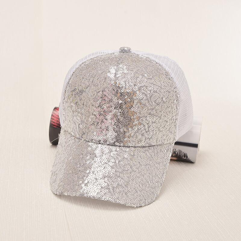 17 New Summer Black Sequins Baseball Caps For women Mesh Hat Net Cap Casquette Sparkling Leisure Sun Cap Adjustable Adult 9