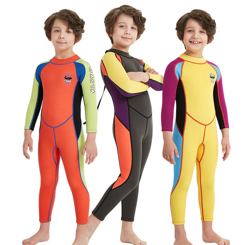2.5mm Neoprene Boys Warm One-piece Swimwear Coverall Wetsuit Surfing Diving Water Sports Long Sleeves Jumpsuit<br>