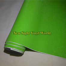 High Quality Apple Green Glitter Sandy Sparkle Vinyl Film Roll Bubble Free For Phone Laptop Ipad Sticker Cover Size:1.52*30M(China)