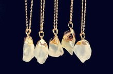 Discount wholesale Women's Natural Stone Pendant light yellow  Crystal Necklaces Fluorite Erose Statement Necklace
