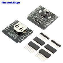 RTC DS1307 (Real Time Clock) + battery - Shield for WeMos D1 mini, with pin-headers set.