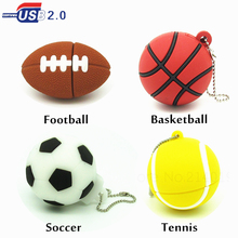 cartoon sports ball USB Flash Drive football basketball tennis Pen Drive memory Stick usb 2.0 pendrive gift 4GB 8GB 16GB 32GB