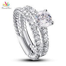 Peacock Star 1 Carat Round Cut Solid 925 Sterling Silver 2-Pcs Wedding Anniversary Engagement Ring Set CFR8010(Hong Kong)