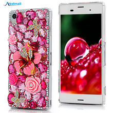 Rhinestone Case Luxury 3D Bling Diamond Capa Transparent Funda Protective Back Cover Skin Hard PC Phone Case For Sony Xperia Z3