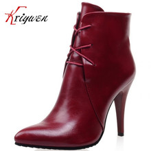 Plus size 33-43 2016 soft leather pumps thin high heels ankle boots for women fashion sexy club dress woman motorcycle shoes