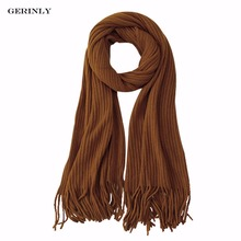 GERINLY Women Scarf Winter Knitted Solid Colors Scarves Soft Thick Warm Pashmina Bandana Luxury Brand Tassel Long Foulard(China)