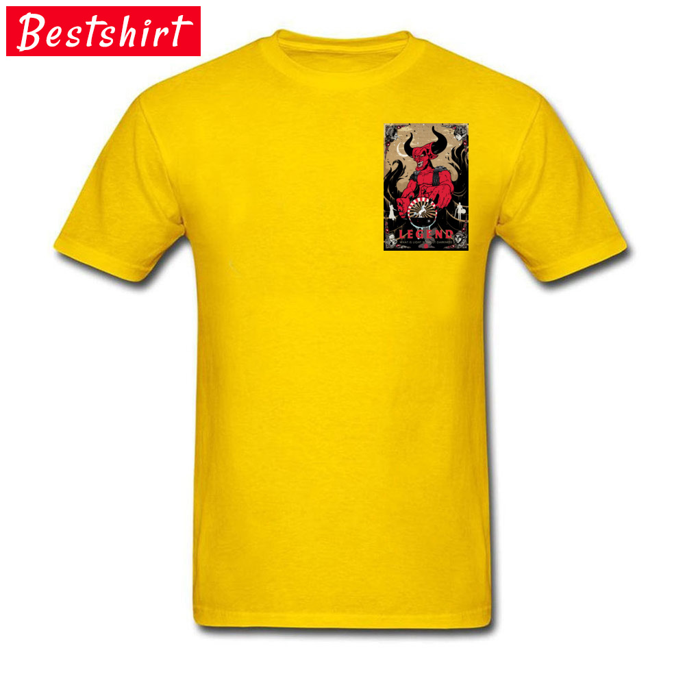Darkness Crewneck Top T-shirts Fall Tees Short Sleeve 2018 Popular Cotton Fabric Printed On Clothing Shirt Design Men's Darkness Chest yellow
