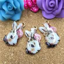 Factory Price Enamel Alloy Rabbit Charms Floral Ribbon Knot Bow Decorated Gold Tone Oil Drop Kawaii Animal Pendant Charms 5PCS