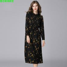 2017 Time-limited Full Spring A-line Empire Button Long Dress 2018 New Floral Dress Waist Band Europe Put Thin Render Outside(China)
