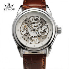 SEWOR Men's Fashion Wristwatch Flower Carving Skeleton Clock Diamond Index Hand-Wind Movement Leather Strap Mechanical Watch