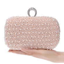 Hot Selling Finger Ring Diamonds Small Purse Evening Bags Bead Handmade Purse Day Clutches Metal Imitation Pearl Evening Bag