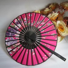 Flower Fabric Bamboo Fans Round Hand Held Fans Holiday Wedding Shower Favor