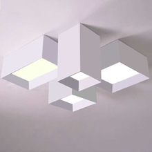 Geometric Box Combination Led Ceiling Light For Living Room Bedroom Modern Creative Designer Aluminum Acryl Ceiling Lamp 2072(China)