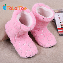 ToLaiToe candy Sequins Love Coral velvet Indoor Floor Slippers Women Home Shoes Sequin Heart Home Soft Sole Warm House Slippers(China)