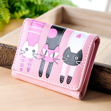 Leather Women's Wallet Small 3 Fold Cartoon Cat Cute Lady Short Wallet Card Bag Pink Animal Change Purse Girls Card Holder Mini