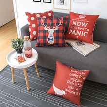 Modern Red Geometric Lattice Animal Deer Pillow Cover Cushion Linen Cotton Sofa Car Office Home Decoration Waist Pillow Cushion