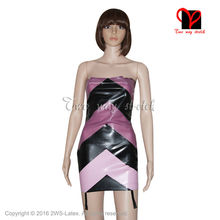Buy Sexy Latex Dress garters suspender Rubber Bandeau Bodycon Gummi Strapless Miniskirt Uniform playsuit size XXXL QZ-091