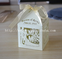 Bridal shower party bride and groom cheap wedding favors laser cut favor box with name and date