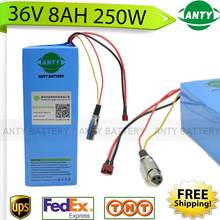 eBike Battery 36v 8Ah 250W electric bicycle battery 36v with 42v 2A charger,15A BMS 36v Lithium Battery Pack Free Shipping