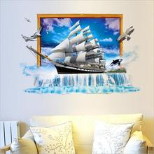 3D Simulation Scenery Ocean Sailing Ship Wall Stickers TV/Sofa Background Mural Decal European style Creative New arrived(China)
