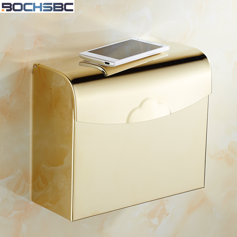 BOCHSBC Square Toilet Paper Box Waterproof Bathroom Tissue Box Gold Roll Paper Holder Stainless Steel Toilet Paper Box<br>